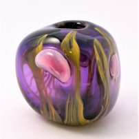 Siddy  Langley Purple Jellyfish And Kelp Triform Vase