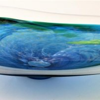 Richard Glass Blue Aqua Frost Shoal Bowl