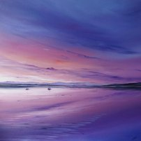 Allison Young Pink Sky and Boats, Loch Tay