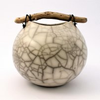 Anne  Morrison Medium Rounded Crackle Pot With Wood