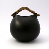 Anne  Morrison Black Rounded Pot With Striped Wood