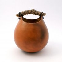 Anne  Morrison Red Smoked Rounded Pot With Wood
