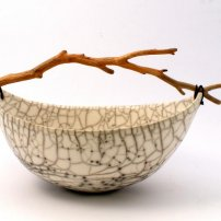 Anne  Morrison Wide Crackle Bowl With Red Branch