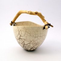 Anne  Morrison Dimpled Crackle Bowl With Pronged Wood