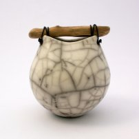 Anne  Morrison Tiny Rounded Crackle Pot With Wood